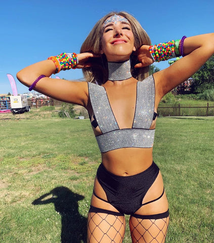 Black and silver rhinestone rave outfit