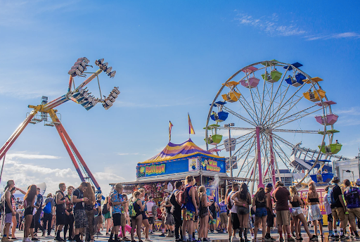 Ferris wheel and rides at a festival
