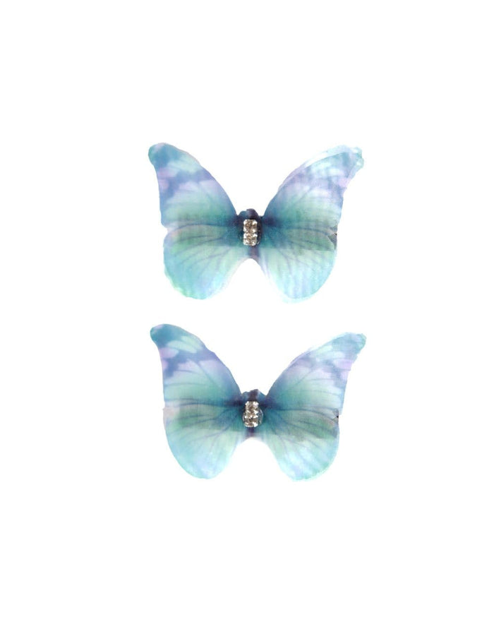 Baby Blue Butterfly Hair Clips