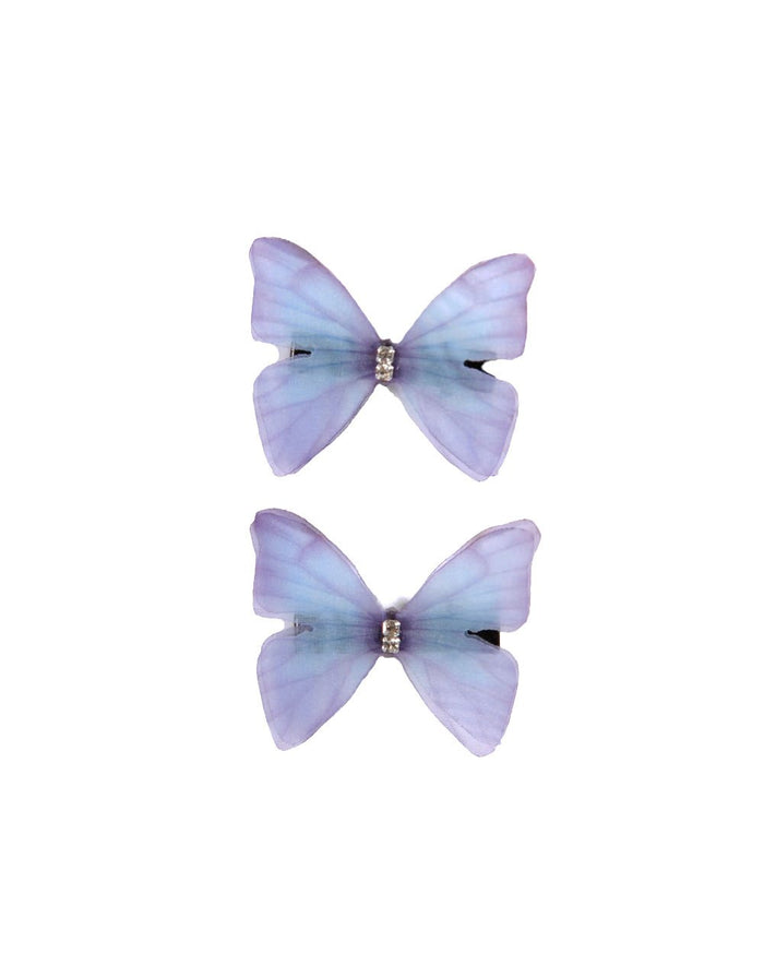 Lavender Butterfly Hair Clips
