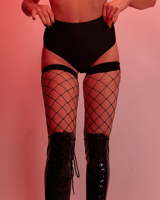 Fence Net Thigh Highs-Black-Lifestyle