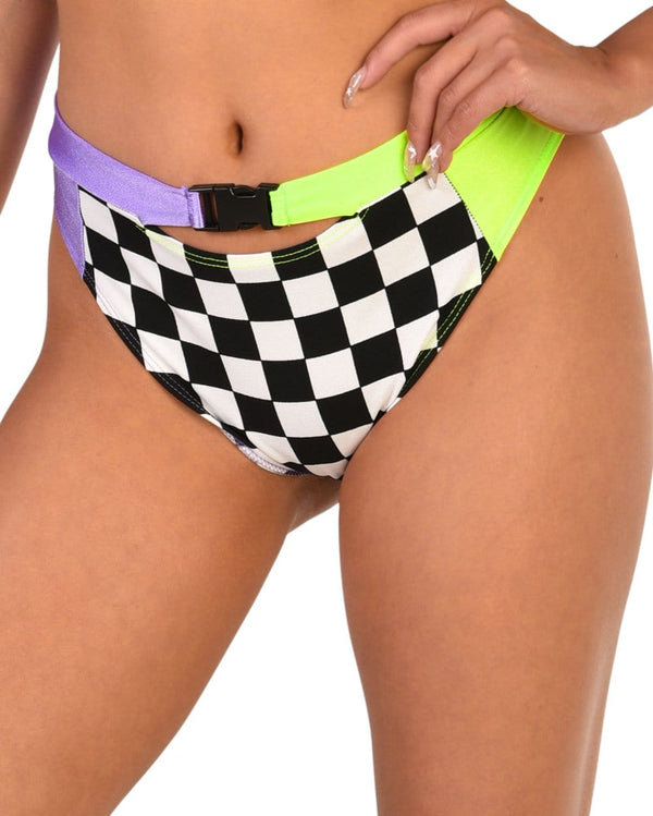 Vroom Vroom Checker High Waisted Shorts-Front