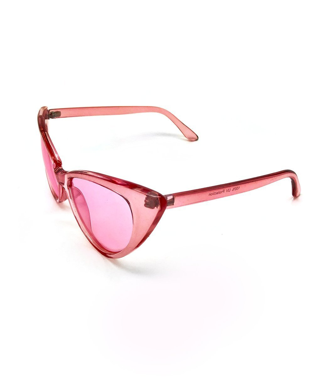 Clear Cat Eye Sunglasses-Pink-Side