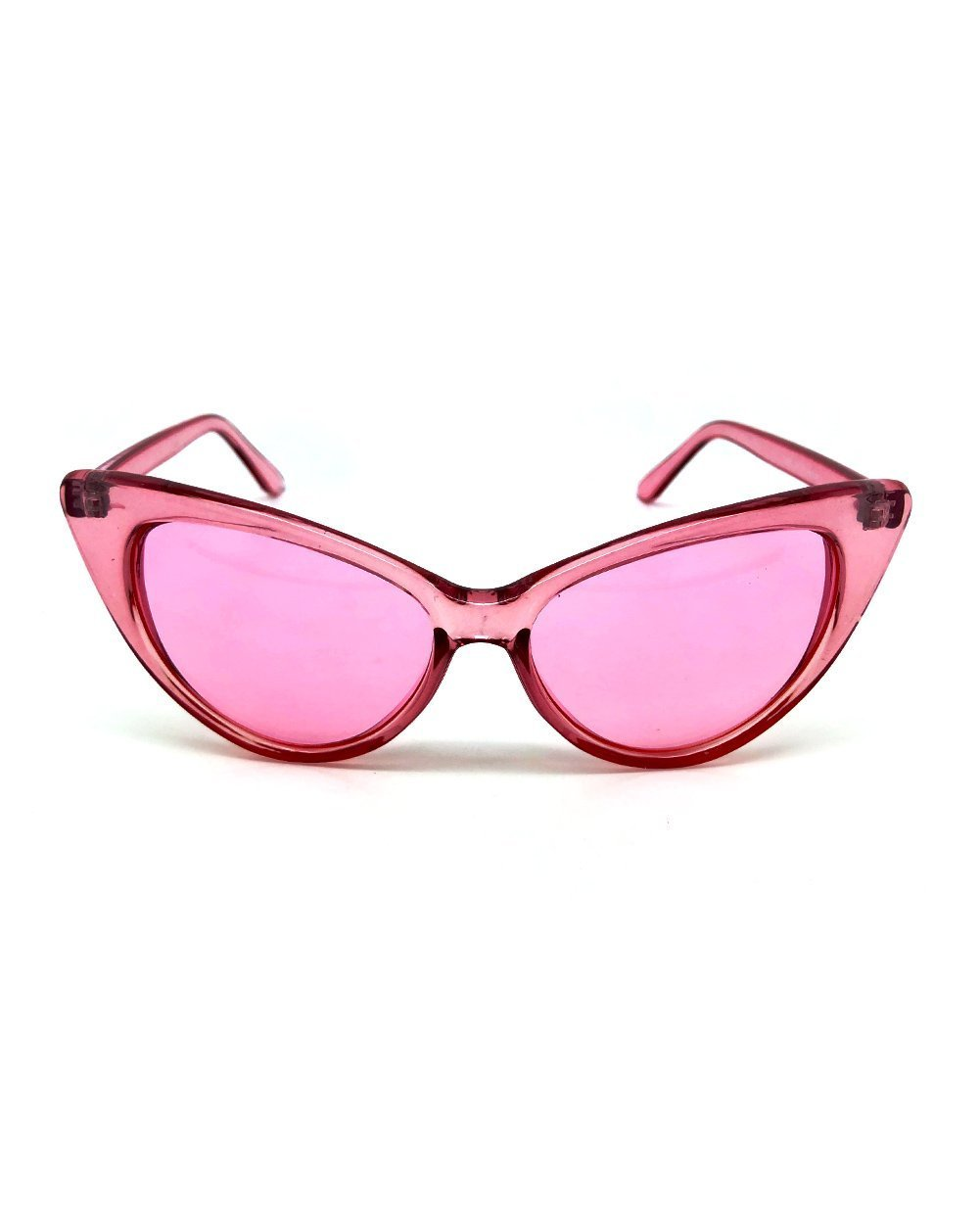 Clear Cat Eye Sunglasses-Pink-Front