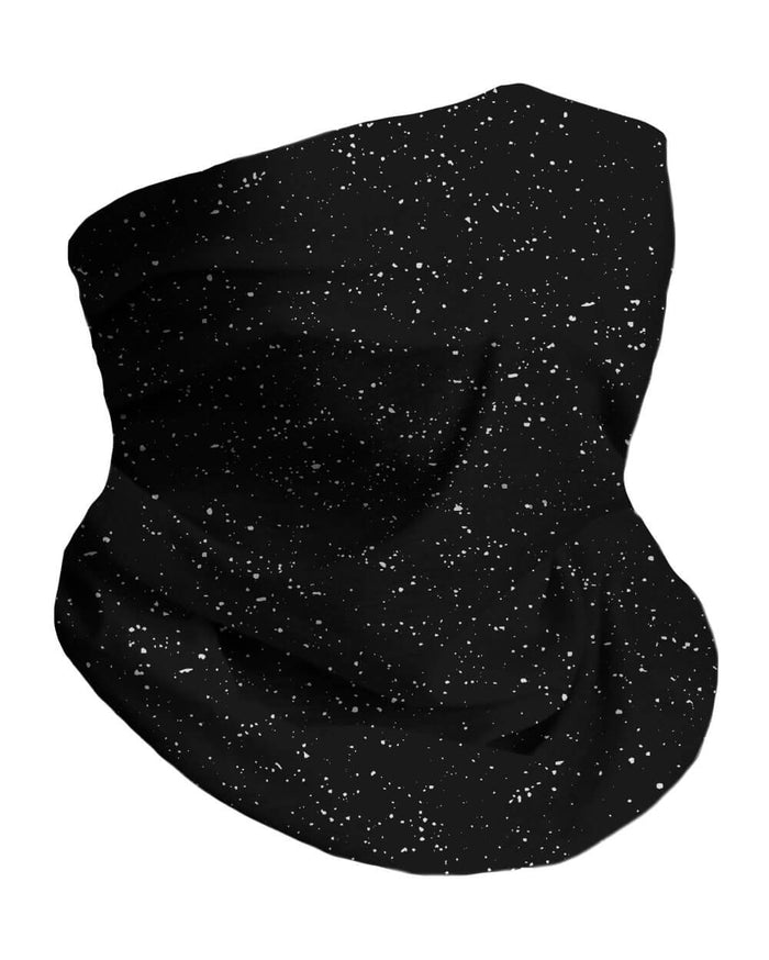 Paint Splatter Black Seamless Mask Bandana-Front