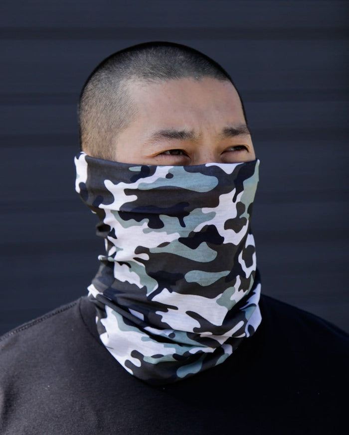 Black Camo Seamless Mask Bandana-Lifestyle