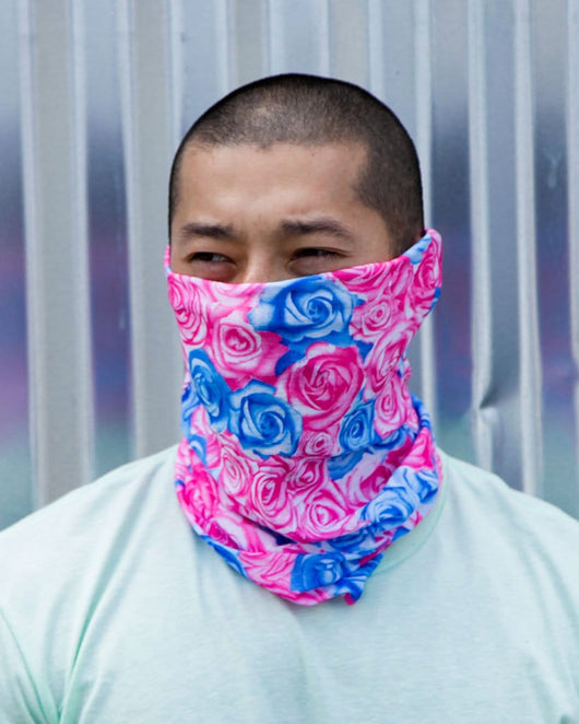 Field Of Roses Seamless Mask Bandana - Blue/Pink-Lifestyle