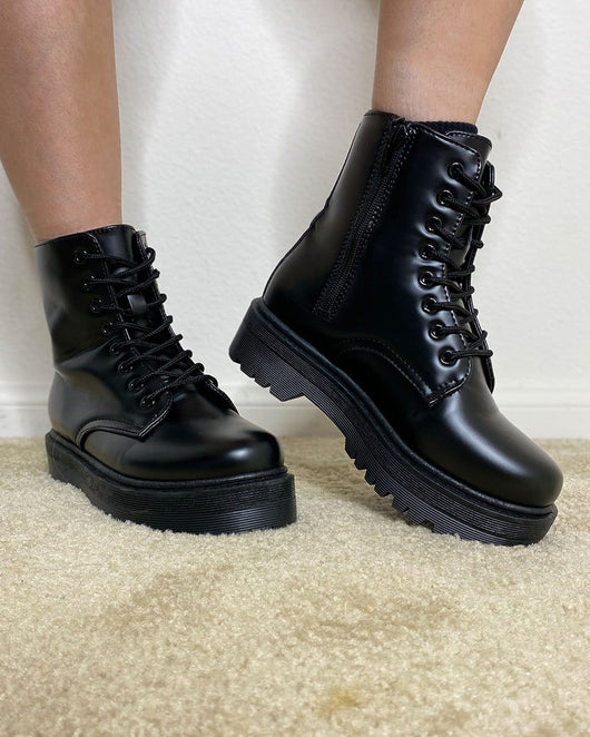Choose Ur Fighter Combat Boots-Black-Side