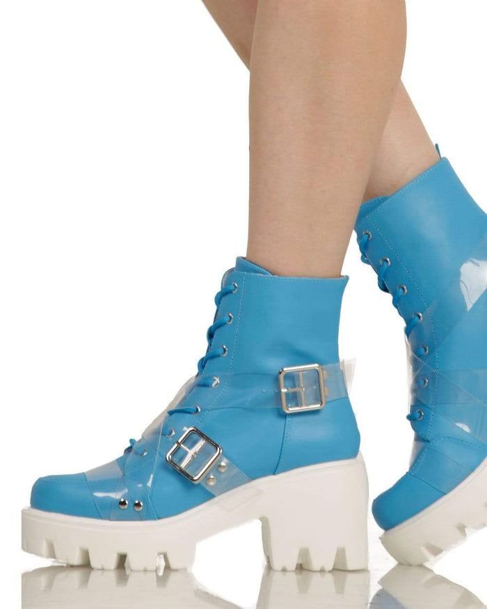 True Blue Buckle Heeled Boots-Side