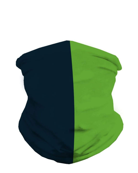 College Navy and Bright Green Mask Bandana-Front