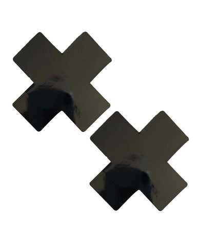 Neva Nude Black Vinyl Cross Pasties