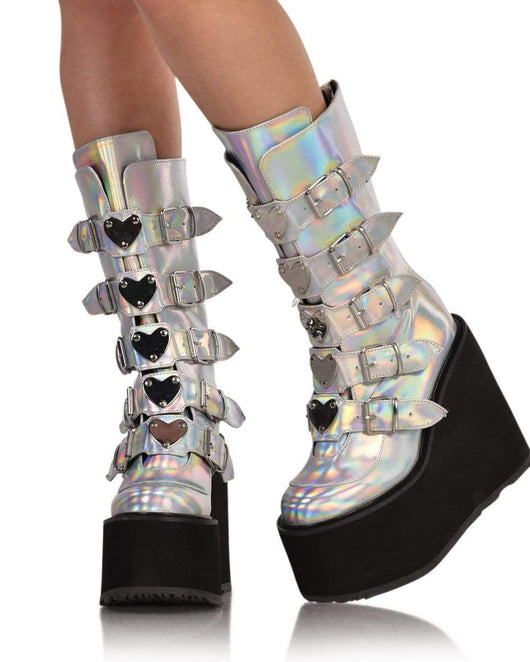 Demonia Silver Hologram Vegan Leather Boots-Front