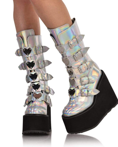 42aad57405d Demonia Silver Hologram Vegan Leather Boots-Front ...