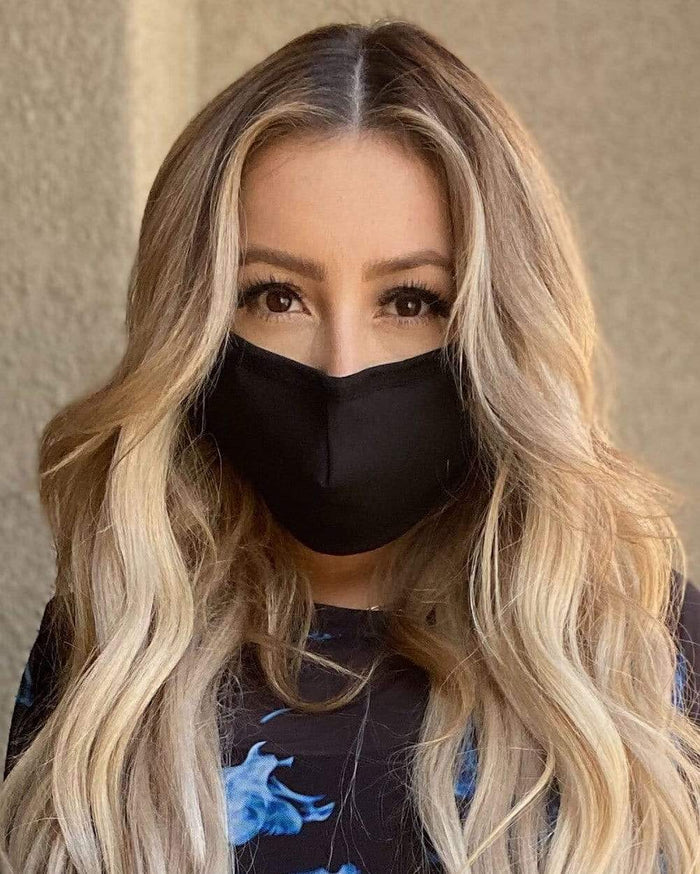 Solid Color Face Mask-Black-Lifestyle