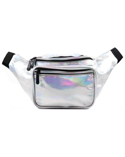 Hella Holographic Fanny Pack-Silver-Front