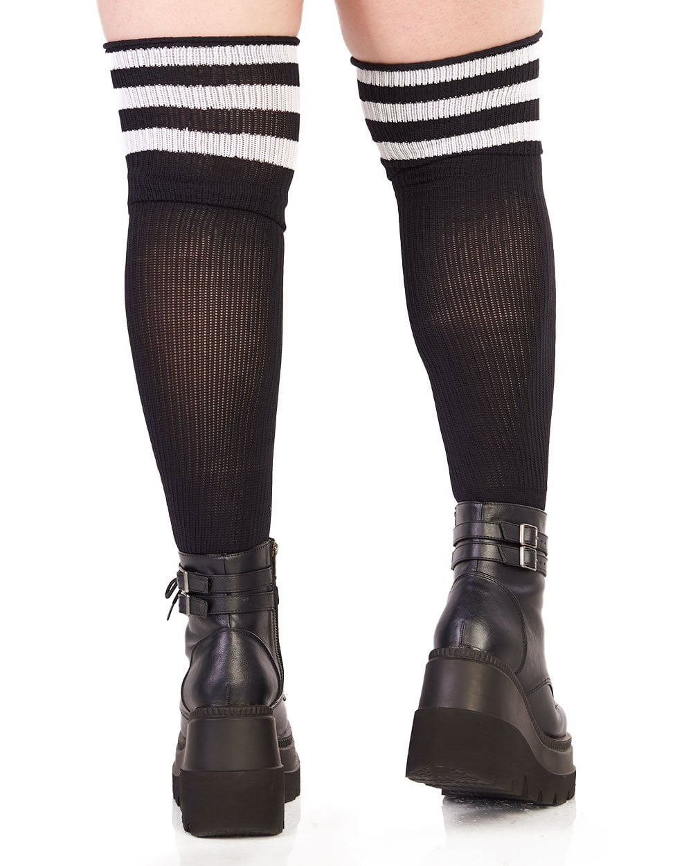 40e70a8397fce Plus Size Athlete Acrylic Thigh Highs with Striped Top - iHeartRaves