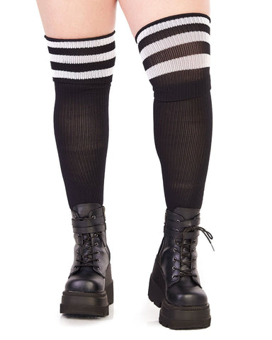 f0026c0acbee1 ... Hosiery Plus Size Athlete Acrylic Thigh Highs with Striped  Top-Front-Curve1