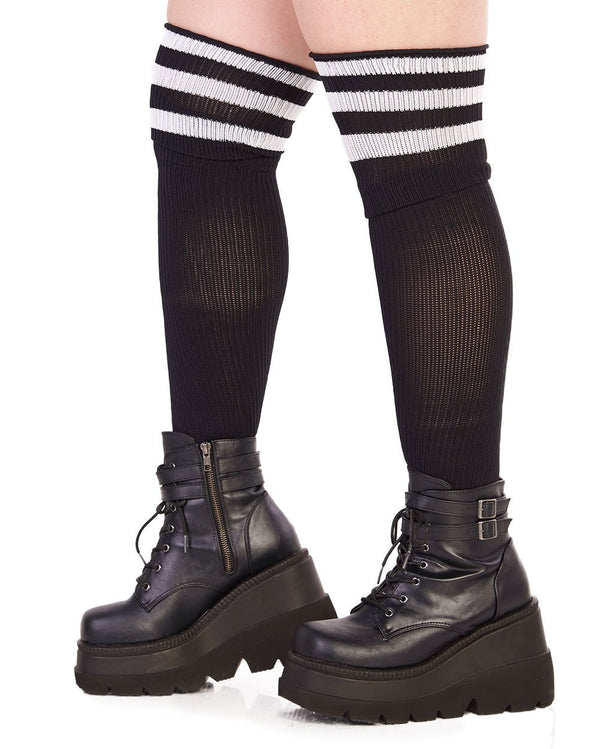 Hosiery Plus Size Athlete Acrylic Thigh Highs with Striped Top-Side-Curve1