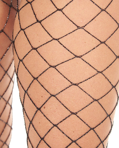 Industrial Net Pantyhose - Black w/ Silver-Detail