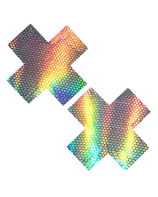 Neva Nude Liquid Hologram Cross Pasties