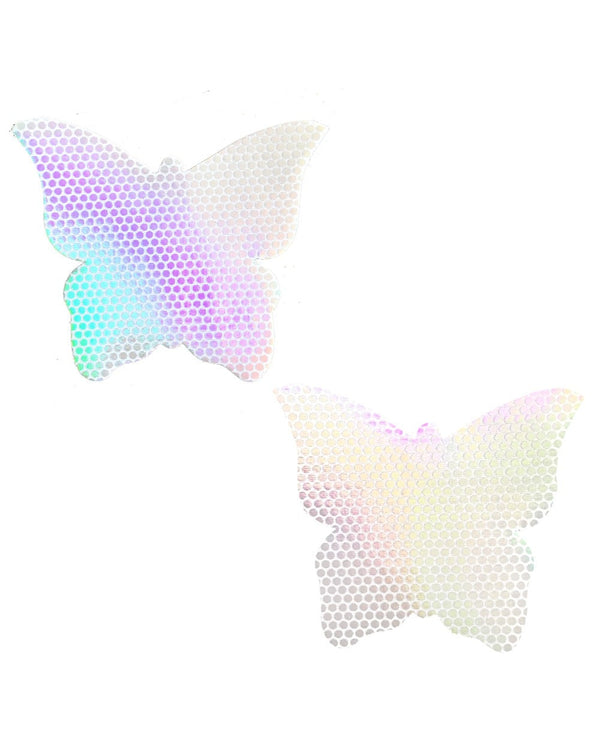 Neva Nude Liquid Pure White Hologram Butterfly Pasties