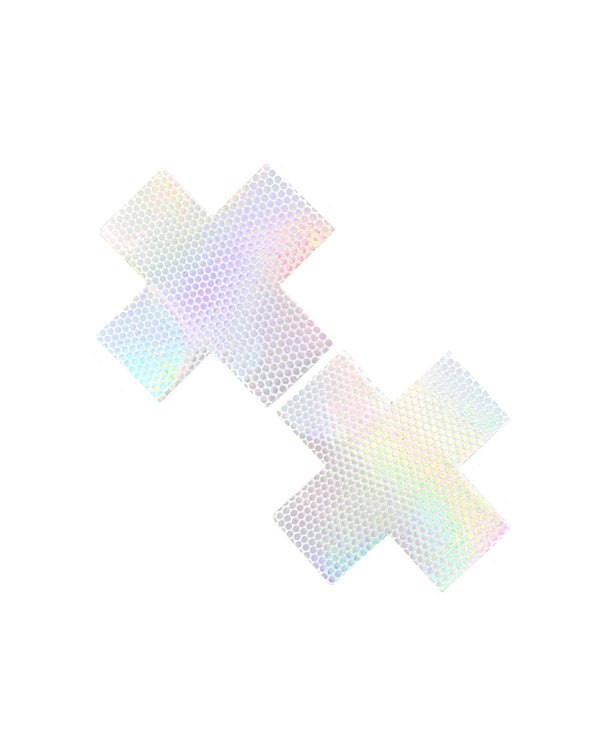 Neva Nude Liquid Pure White Hologram Cross Pasties-White