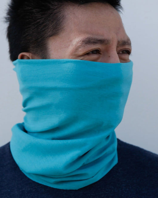 Clear Day Blue Seamless Mask Bandana-Lifestyle