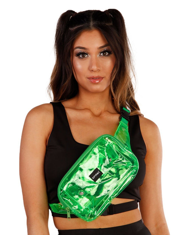 Spiral Transparent Green Fanny Pack-Front1