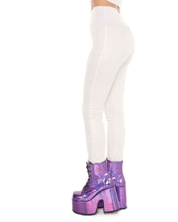 Shimmer Me Down Leggings-White-Side
