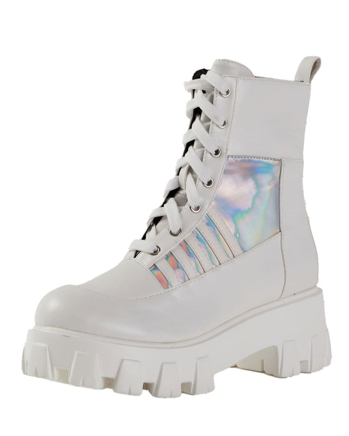 Euphoria White Magic Holo Combat Boots-White-Angle