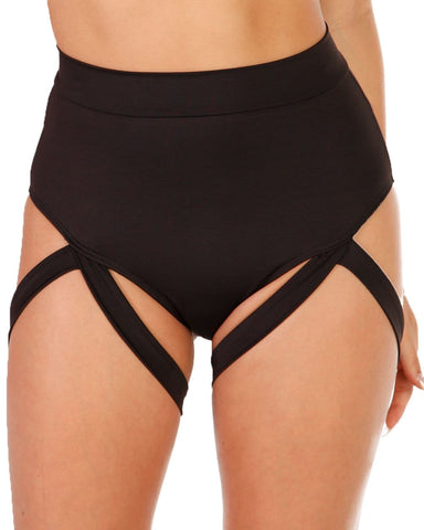 Badd Girl High Waisted Harness Booty Shorts-Front