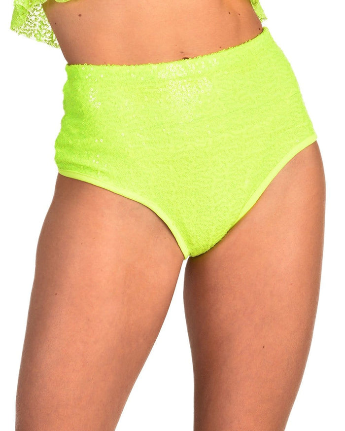 Dreamland Sequin Booty Shorts-Neon Yellow-Front--Liberty---S