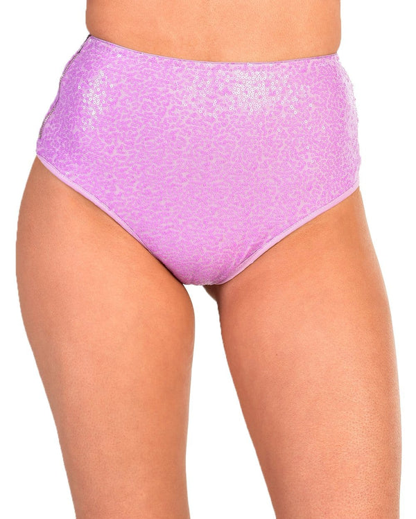 Dreamland Sequin Booty Shorts-Purple-Front