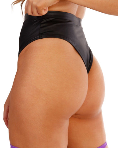 Faux Leather High Rise Thong