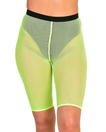 Feisty Fishnet Biker Shorts-Neon Yellow-Front