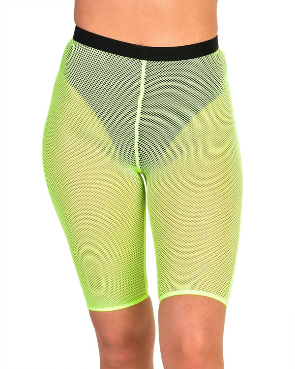 Feisty Fishnet Biker Shorts-Neon Yellow-Front--Sami---S