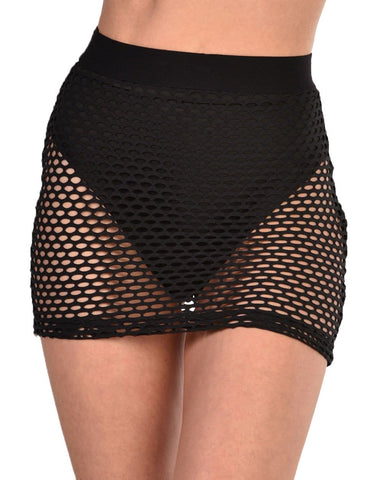 Womens Bottoms Fishnet Mini Skirt-Black-Front