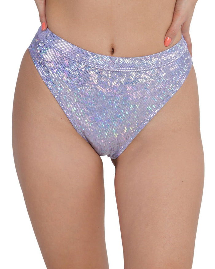 Lavender Dreamz Holo High Cut Booty Shorts-Front--Sandy---S