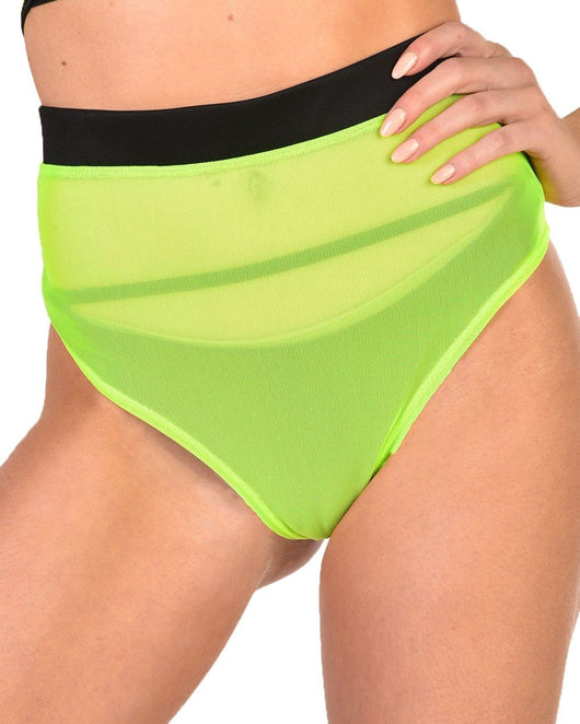 Nightdrive Neon Mesh Booty Shorts-Neon Green-Front