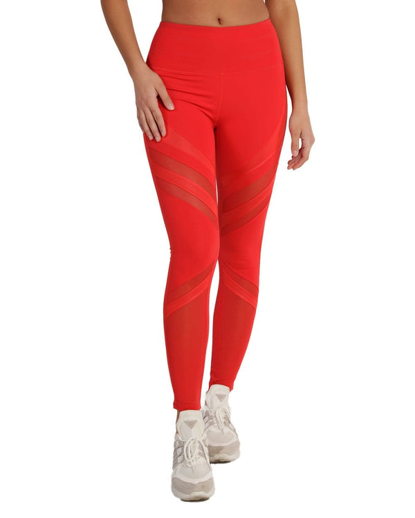 Power Up Mesh Inset Leggings-Red-Front