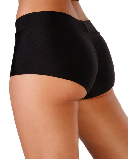 Solid Rave Booty Shorts-Black-Side--Sophia---S