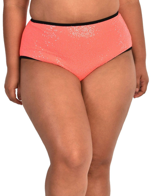 Technologic Neon Sequin High Waisted Bottoms-Neon Coral-Curve1-Front