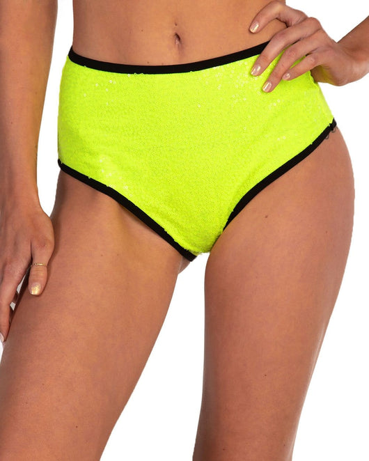 Technologic Neon Sequin High Waisted Bottoms-Neon Yellow-Front