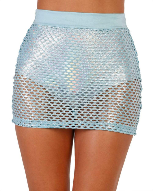 Wishful Thinking Glitter Fishnet Mini Skirt-Front