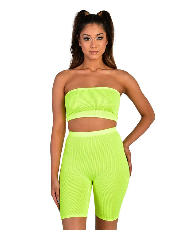Casual Friday Biker Short Set-Neon Yellow-Front