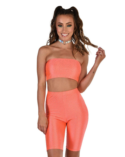 Totally Stoned Rhinestone Biker Shorts Set-Front--Hannah---S