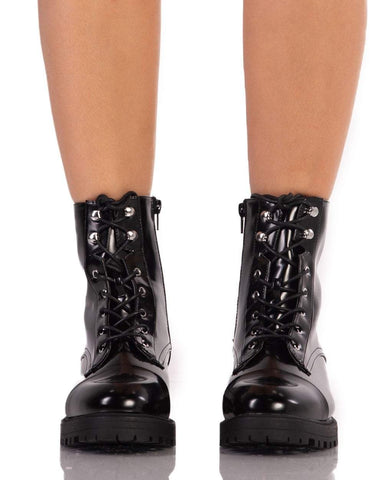 Black Shiny Combat Boots-Front
