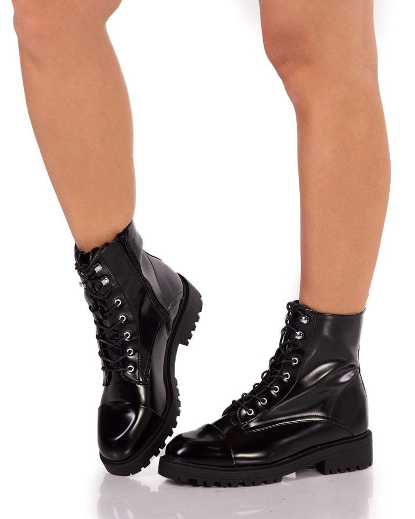 Black Shiny Combat Boots - iHeartRaves