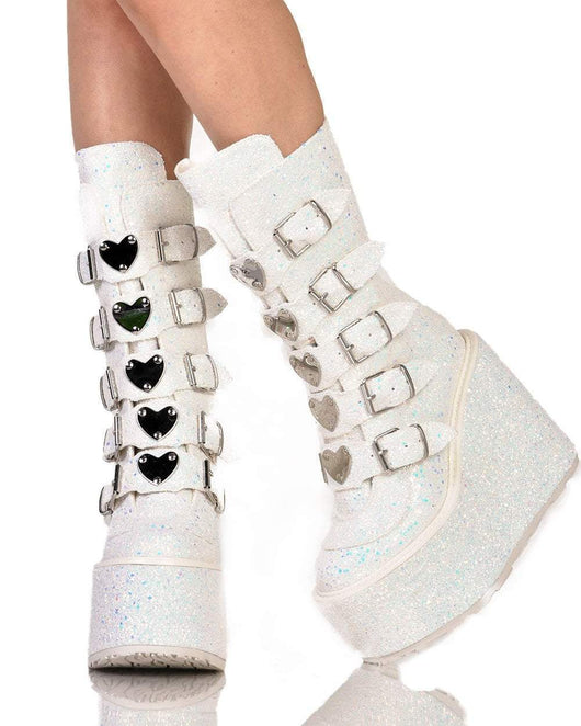 Womens Shoes Demonia Heart Buckle White Glitter Platform Boots-Front