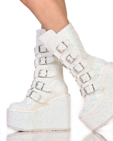bc7e28f4ed1 ... Womens Shoes Demonia Heart Buckle White Glitter Platform Boots-Side